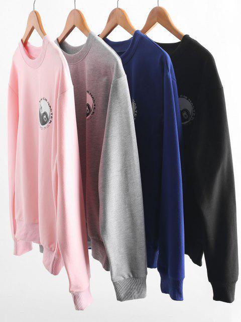 Tai Chi Print Oriental Drop Shoulder Pullover Sweatshirt - أزرق M Mobile