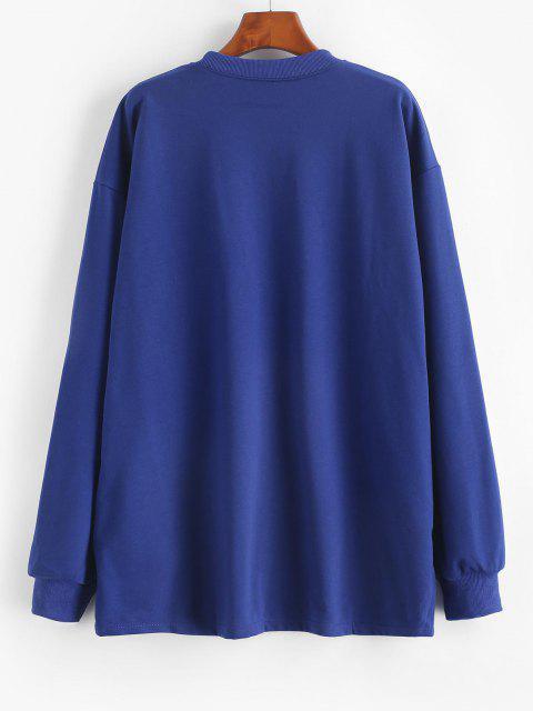 unique Chinese Character Oriental Drop Shoulder Longline Sweatshirt - BLUE L Mobile