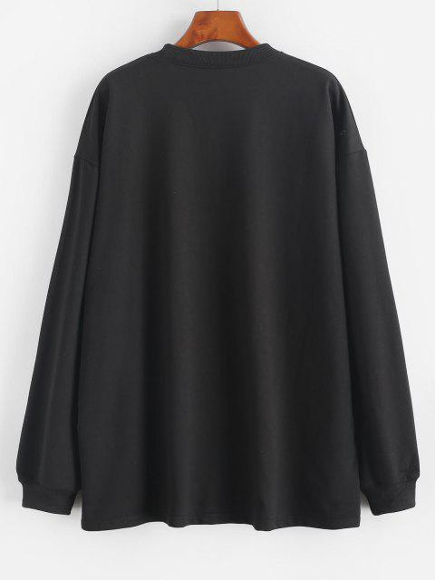 lady Chinese Character Oriental Drop Shoulder Longline Sweatshirt - BLACK L Mobile