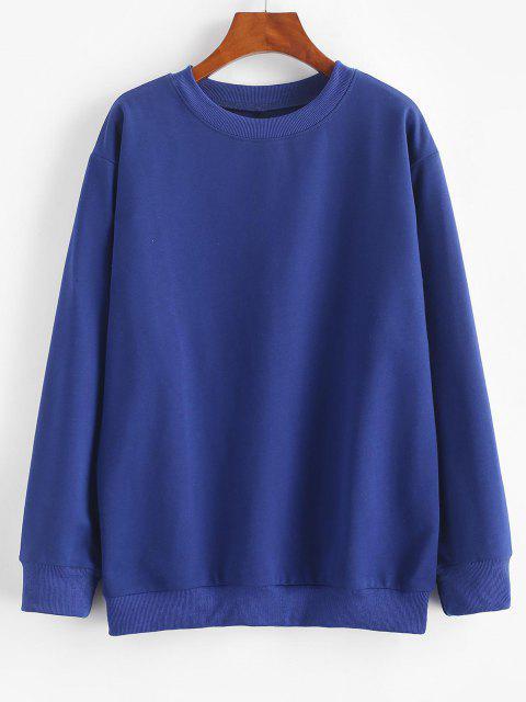 Basic Drop Shoulder Pullover Sweatshirt - أزرق M Mobile
