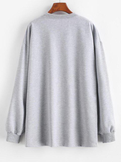 lady Chinese Character Oriental Drop Shoulder Longline Sweatshirt - LIGHT GRAY S Mobile