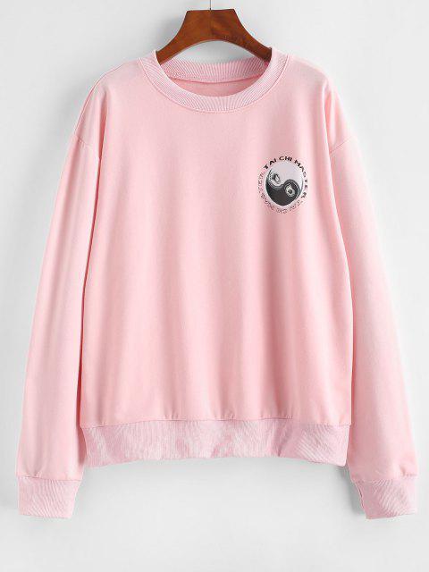 Sweat-shirtOrientalTai Chi Yin et Yang Imprimés à Goutte Epaule - Rose clair L Mobile