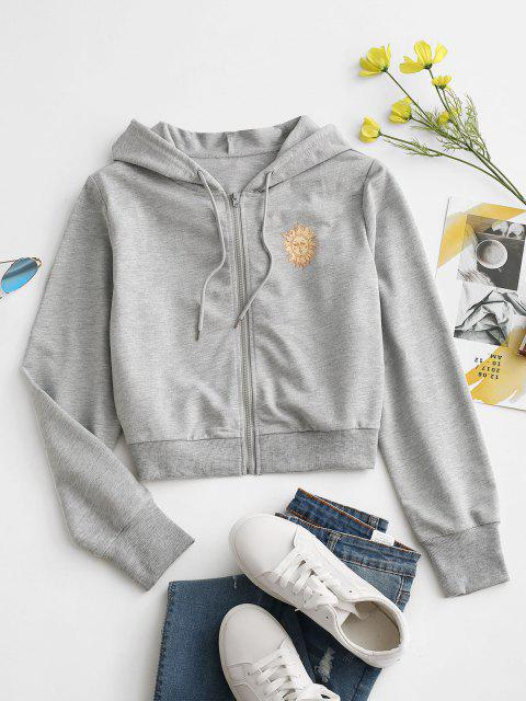 trendy Sun Print Hooded Drawstring Jacket - LIGHT GRAY S Mobile
