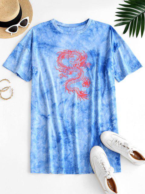 outfits ZAFUL Oriental Tie Dye Dragon Print Tee Dress - LIGHT BLUE XL Mobile