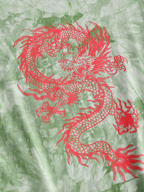 hot ZAFUL Oriental Tie Dye Dragon Print Tee Dress - LIGHT GREEN M Mobile