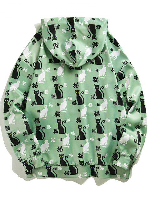 chic Chinese Character Cat Pattern Hoodie - LIGHT GREEN L Mobile
