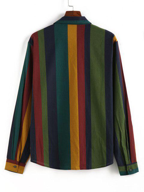 online ZAFUL Colorblock Stripes Pocket Long Sleeve Shirt - MULTI L Mobile
