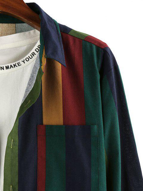 ZAFUL Farbblock Streifen Tasche Langarm Hemd - Multi 2XL Mobile