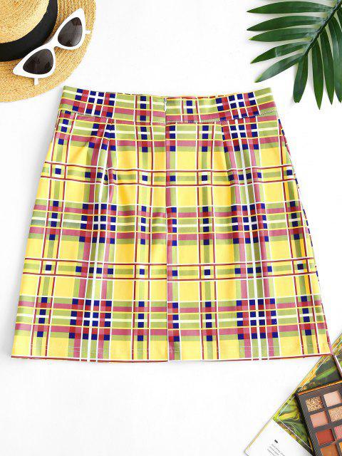 hot Plaid Zip Back High Rise Skirt - YELLOW XL Mobile