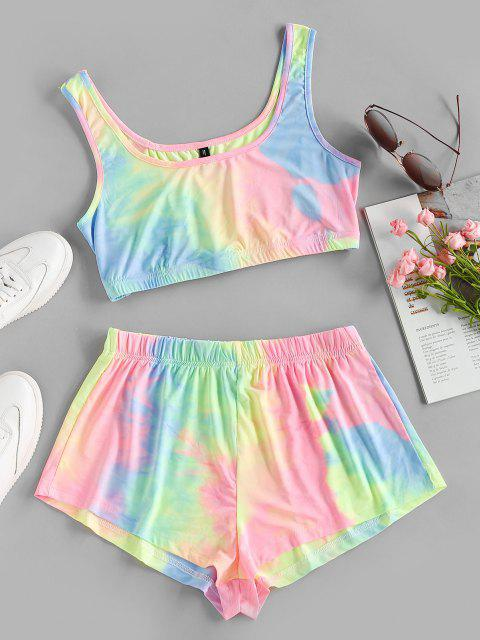 trendy ZAFUL Tie Dye Crop Top and Shorts Set - MULTI-A XL Mobile