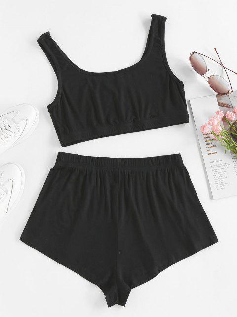 shop ZAFUL Tie Dye Crop Top and Shorts Set - BLACK M Mobile