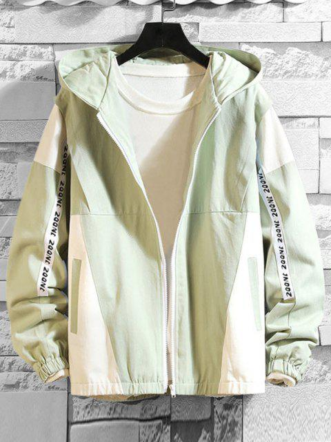 shops Letter Print Two Tone Hooded Jacket - DARK SEA GREEN XS Mobile
