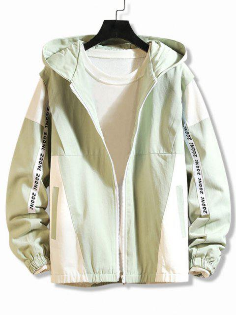 shops Letter Print Two Tone Hooded Jacket - DARK SEA GREEN L Mobile