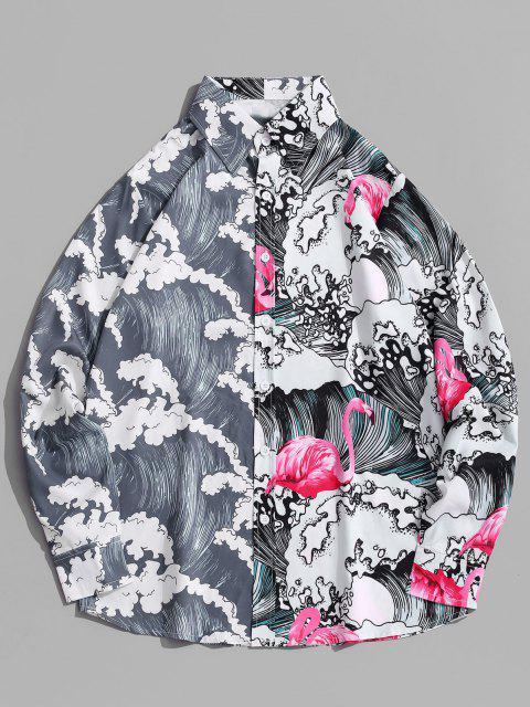 buy Long Sleeve Wave Print Oriental Shirt - ROSE RED 2XL Mobile