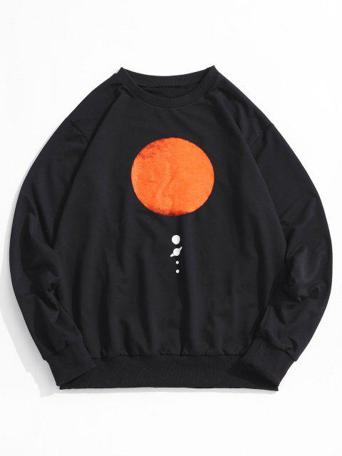 trendy Sun Planet Print Crew Neck Sweatshirt - BLACK M Mobile
