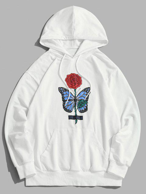 affordable ZAFUL Rose Butterfly Print Hoodie - WHITE S Mobile