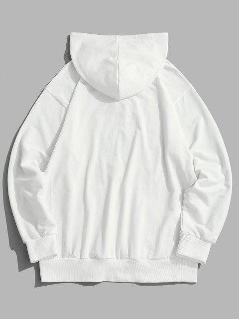 women ZAFUL Rose Butterfly Print Hoodie - WHITE XL Mobile