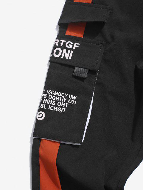 Pantalones de Carga con Estampado de Letras y Bolsillo - Rojo XS Mobile