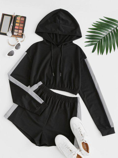 online Reflective Trim Crop Hoodie and Shorts Two Piece Set - BLACK XL Mobile