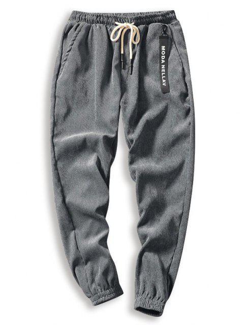Pantalones de Pana de Cordón de Color Sólido - Gris M Mobile