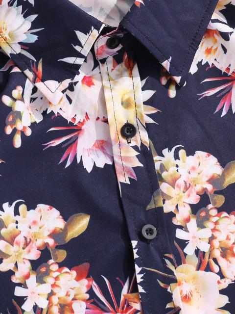 chic Button Down Floral Leaves Print Vacation Shirt - DEEP BLUE S Mobile