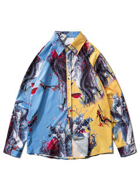 fashion Long Sleeve Animal Flower Print Oriental Shirt - BLUE IVY M Mobile