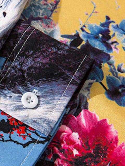 affordable Long Sleeve Animal Flower Print Oriental Shirt - BLUE IVY L Mobile