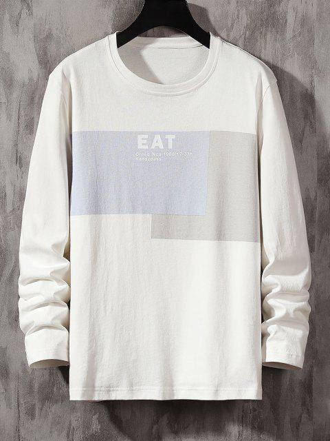 T-Shirt a Contrasto con Stampa Lettere - Bianca S Mobile