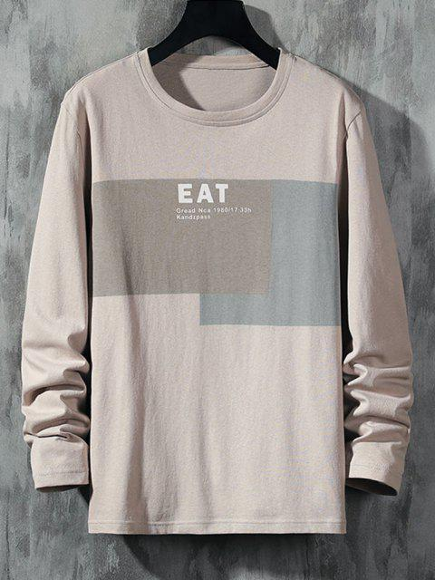 new Eat Letter Print Contrast Patch Basic T-shirt - LIGHT COFFEE S Mobile