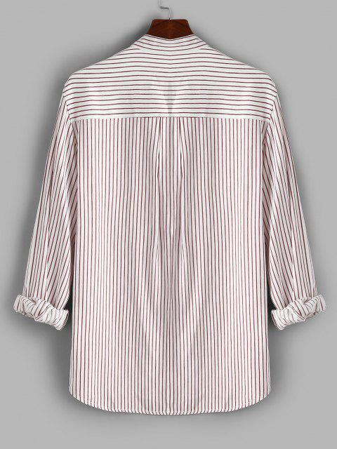 Button Down Stripes Long Sleeve Shirt - وردي فاتح 3XL Mobile