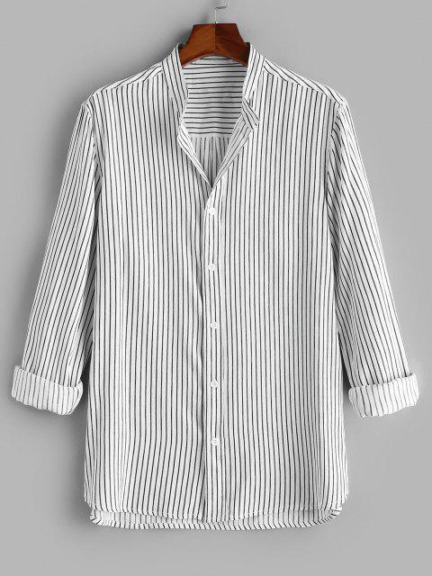 affordable Button Down Stripes Long Sleeve Shirt - BLACK 2XL Mobile
