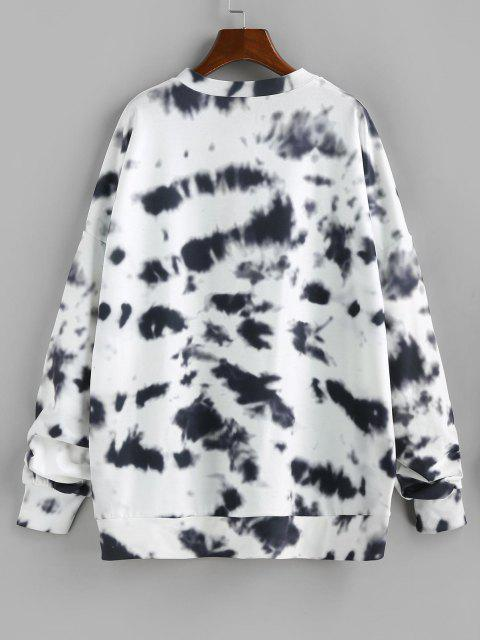 sale ZAFUL Chinoiserie Tie Dye Dragon Print Oversized Sweatshirt - WHITE M Mobile