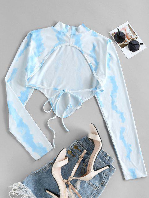 ZAFUL Krawattenfärbender Rückenfrei Einstecktuch Saum Crop T-Shirt - Hellblau M Mobile