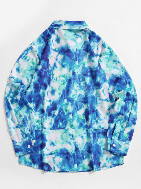 outfit Tie Dye Lounge Long Sleeve Shirt - COBALT BLUE L Mobile
