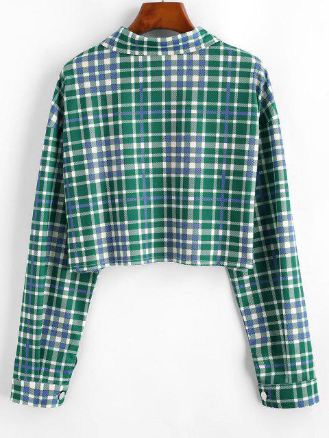Plaid Flap Detail Drop Shoulder Shirt Jacket - ديب غرين L Mobile
