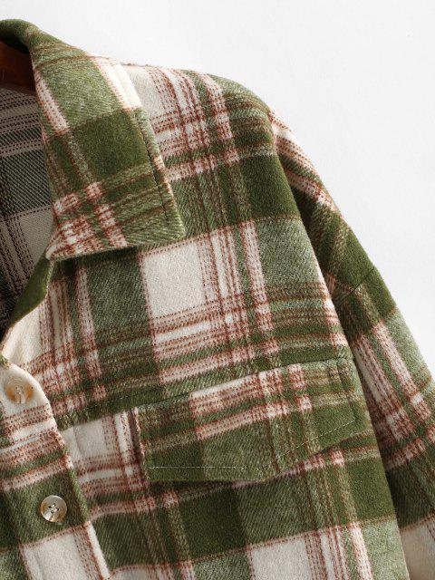 chic Button Up Plaid Wool Blend Shirt Coat - LIGHT GREEN XL Mobile