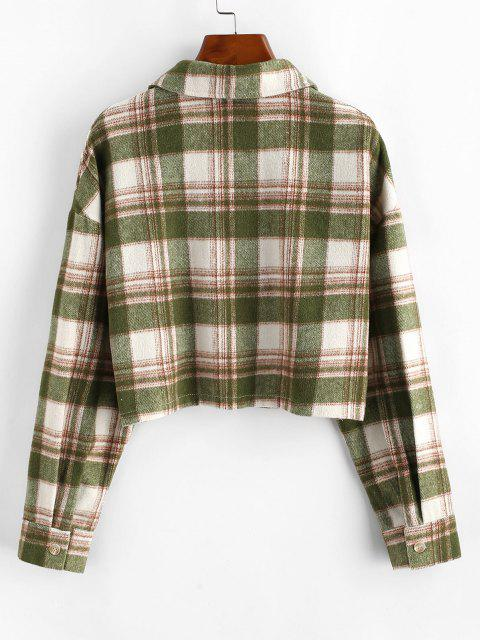 Button Up Plaid Wool Blend Shirt Coat - اخضر فاتح XL Mobile