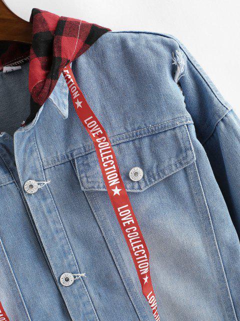 Veste à Capuche à Carreaux FausseDeux Pièces Déchiré en Jean - Bleu clair 3XL Mobile