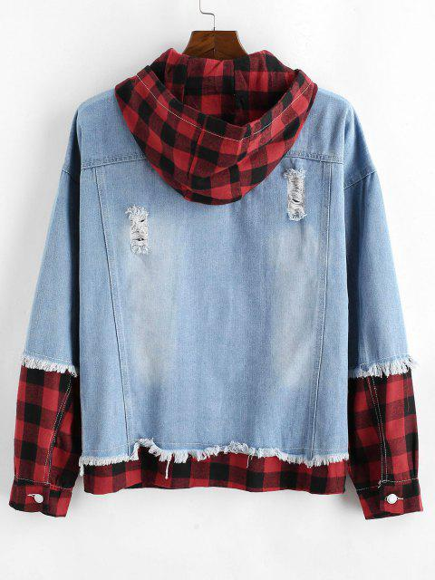 Plaid Ripped Faux Twinset Hooded Jean Jacket - أزرق فاتح XL Mobile