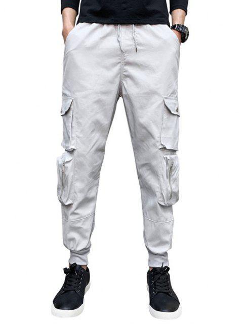 Pantalones de Carga con Cremallera de Cordón en Cintura de Bolsillo - Gris Claro XS Mobile