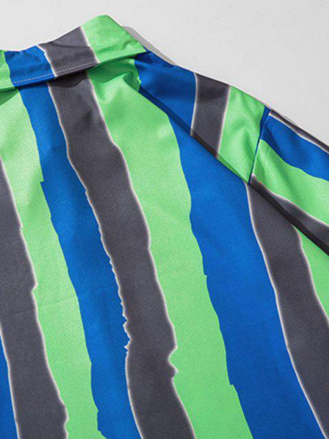 配色ストライプは、長袖シャツ - クローバーグリーン M Mobile