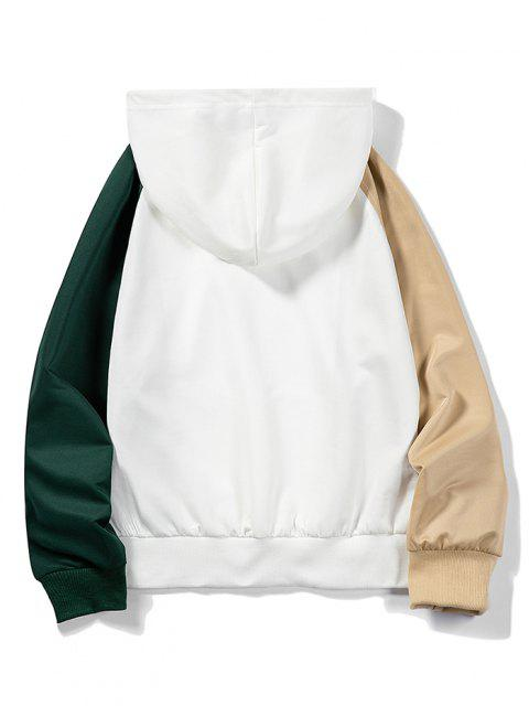 sale Letter Applique Raglan Sleeve Contrast Hoodie - WHITE L Mobile