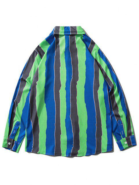 outfits Colorblock Striped Print Long Sleeve Shirt - CLOVER GREEN S Mobile