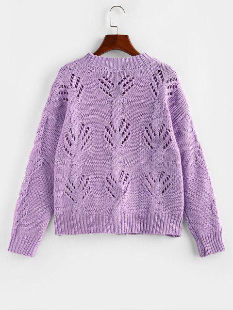 buy Cable Pointelle Knit Drop Shoulder Cardigan - LIGHT PURPLE M Mobile
