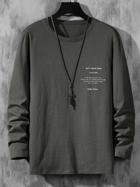 T-Shirt con Maniche Lunghe e Stampa a Lettera - Grigio Scuro L Mobile