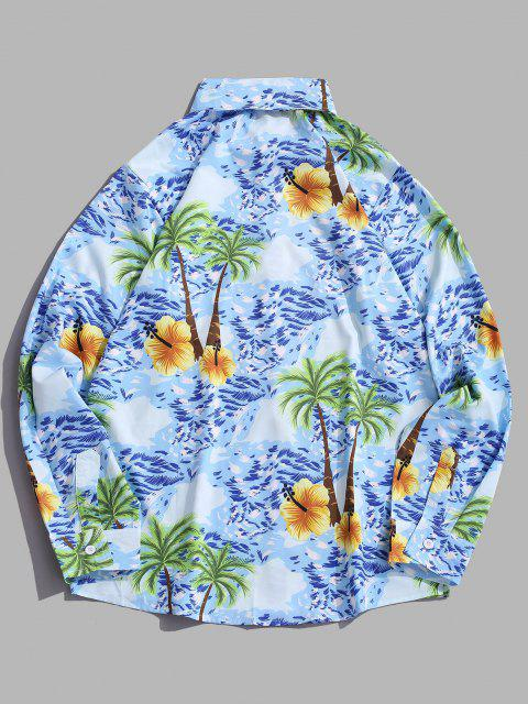 shops Palm Tree Seawater Print Casual Long Sleeve Shirt - DEEP SKY BLUE L Mobile
