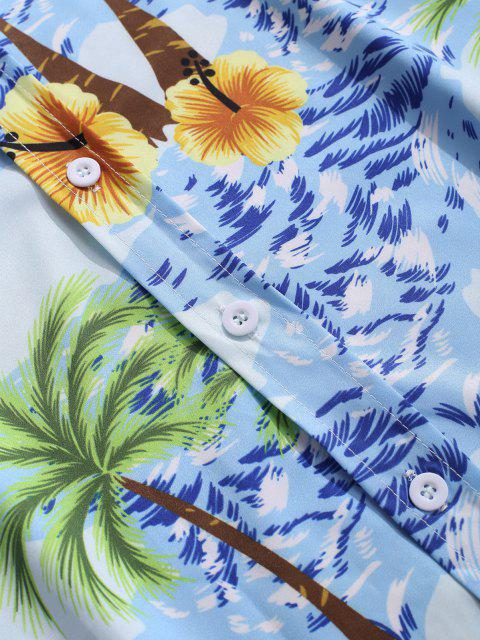 latest Palm Tree Seawater Print Casual Long Sleeve Shirt - DEEP SKY BLUE S Mobile