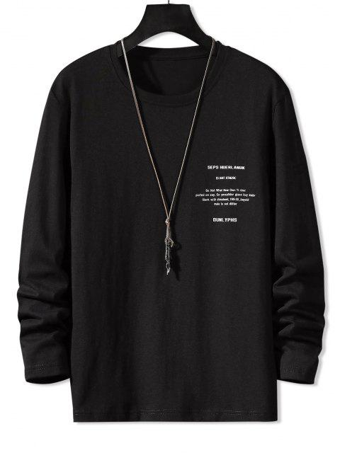 Camiseta Básica Manga Larga Estampado Letras - Negro L Mobile