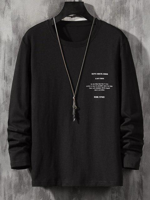Camiseta Básica Manga Larga Estampado Letras - Negro S Mobile