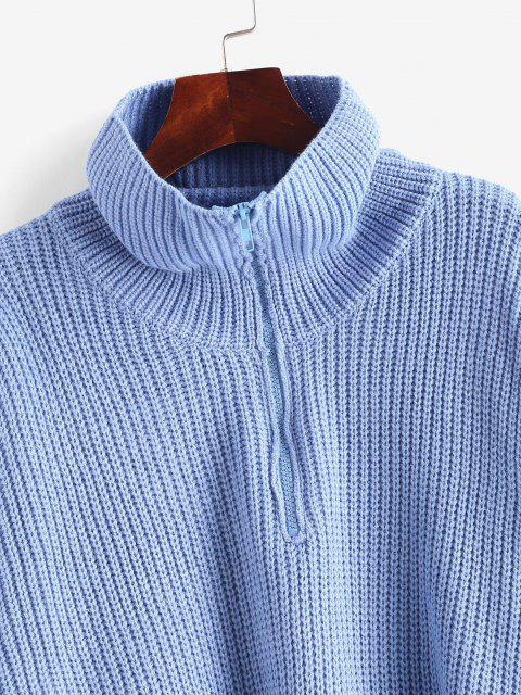online Turtleneck Half Zip Oversized Sweater - CRYSTAL BLUE ONE SIZE Mobile